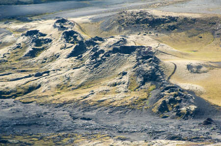 crater highlands: Lakagigar is a row of appox. 130 volcanic craters on the Southern Iceland. The biggest one is the volcano Laki the eruption of which was one of the greatest disasters in the 18th century.  Stock Photo