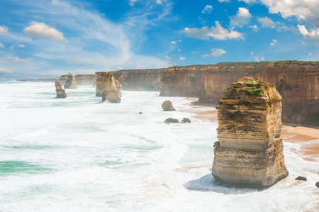 limestone: Twelve Apostles, natural landmark near the Great Ocean Road. Victoria, Australia Stock Photo