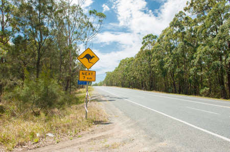 Kangaroo warning sign in New South Wales, Australia photo
