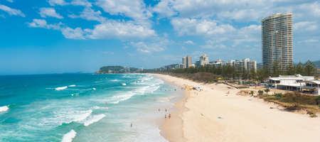goldcoast: Gold Coast with a beach full of tourists seen from above. Queensland, Australia. Panoramic photo