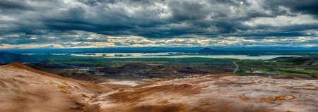 the stinking: View from the top of the Namafjall, the vivid volcanic mountain, at the lake Myvatn, Iceland. HDR panorama