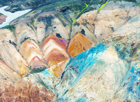 stone volcanic stones: Beautiful multicolored mountains at Landmannalaugar, Iceland Stock Photo