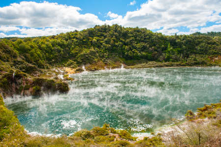 Frying pan lake is the largest hot water spring in the world. Rotorua, Waimangu geothermal area, New Zealand photo