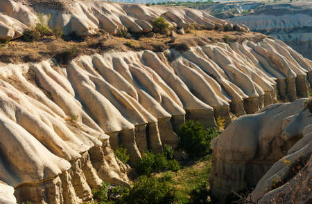 goreme: Rocks in Pigeon Valley (from Uchisar to Goreme) seen from above. Cappadocia, Turkey