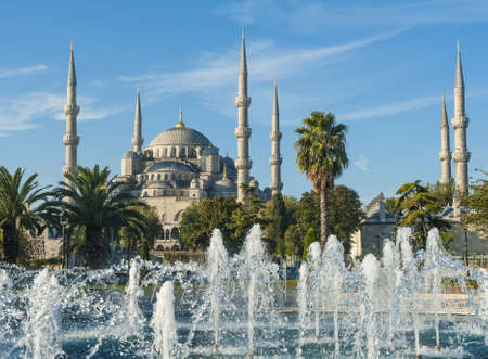Blue Mosque and fountains in the morning, Istanbul, Turkey Stock Photo