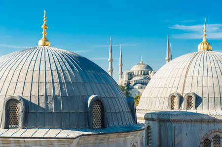 Blue Mosque (Sultan Ahmet Mosque) and cupolas seen from Hagia Sophia photo