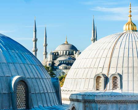 cupolas: Blue Mosque (Sultan Ahmet Mosque) and cupolas seen from Hagia Sophia Stock Photo