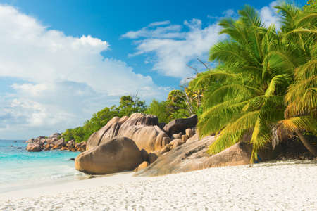 Beautiful and a famous beach Anse Lazio with granite boulders, Praslin island, Seychelles. photo