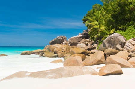 Beautifully shaped granite boulders and a perfect white sand at the famous Anse Georgette, Praslin island, Seychelles photo