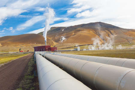 geothermal: Large geothermal plant pumping heat from the Krafla volcano, Iceland