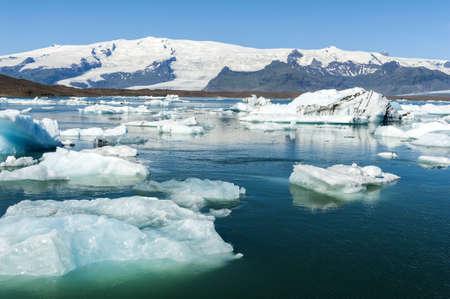 jokulsarlon: Beautiful photo of Jokulsarlon Glacial lake full of floating icebergs Stock Photo