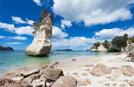 Beautiful Te Hoho Rock at Cathedral Cove Marine Reserve, Coromandel Peninsula, New Zealand. Panoramic photo, Reklamní fotografie