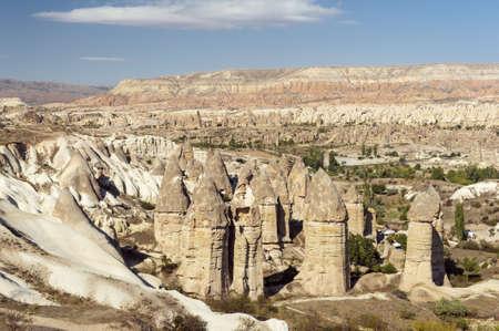 phallic: Fairy tale chimneys in Love Valley near Goreme, Cappadocia, Turkey Stock Photo