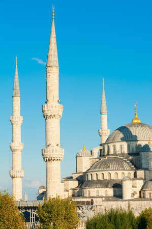 blue mosque: Blue Mosque lit by a evening sun, Istanbul, Turkey Stock Photo