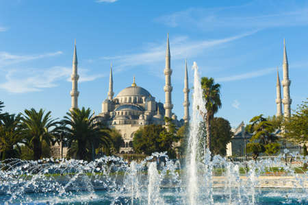 blue mosque: Blue Mosque and fountains in the morning, Istanbul, Turkey Stock Photo