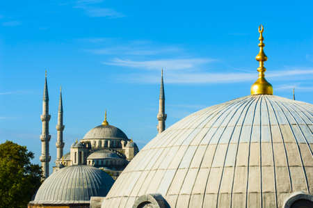 blue mosque: Blue Mosque (Sultan Ahmet Mosque) and cupolas seen from Hagia Sophia Stock Photo
