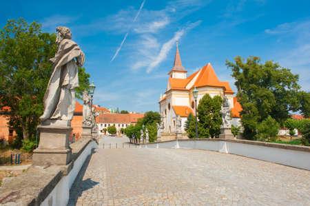 nad: Baroque bridge with statues in Namest nad Oslavou, Czech Republic Stock Photo