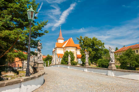 nad': Baroque bridge with statues in Namest nad Oslavou, Czech Republic Stock Photo