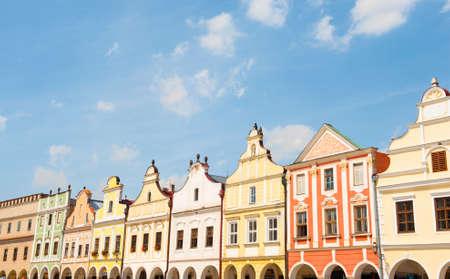 world heritage site: Vivid Renaissance houses in Telc, Czech Republic - UNESCO world heritage site