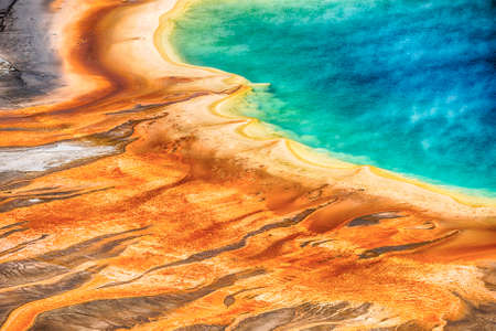 prismatic: Deatiled photo of Grand Prismatic Spring from above. Yellowstone National Park Wyoming USA Stock Photo