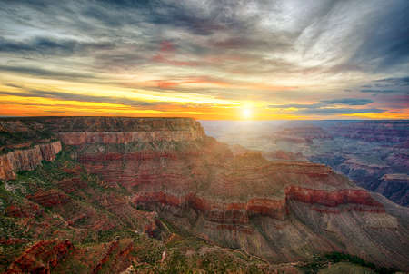 Beautiful colors and shapes of the Grand Canyon shortly after the sunset at Yavapai Point. Arizona USA Stock Photo