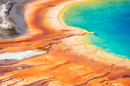 chromatic: Deatiled photo of Grand Prismatic Spring from above. Yellowstone National Park Wyoming USA Stock Photo