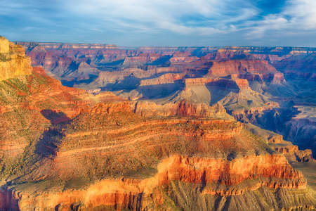 united states: Beautiful colors and shapes of the Grand Canyon shortly after the sunrise at Yavapai Point. Arizona USA Stock Photo