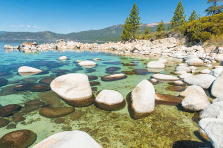 sand harbor: Beautiful boulders and crystal clear water of the lake Tahoe. Hidden Beach Lake Tahoe  Nevada USA