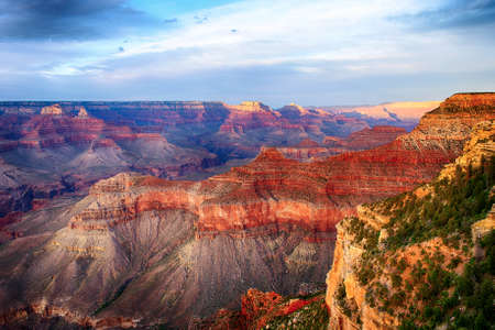 Beautiful colors and shapes of the Grand Canyon shortly after the sunset at Yavapai Point. Arizona USA Banco de Imagens
