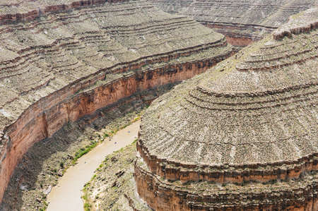 meanders: Goosenecks are a famous entrenched meanders on San Juan river. Goosenecks State Park, Utah - USA.