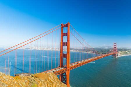 san francisco bay: View at Golden Gate Bridge which spans Golden Gate strait at San Francisco Bay. California, USA Stock Photo