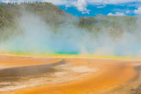 steaming: Deatiled photo of steaming Grand Prismatic Spring. Yellowstone National Park, Wyoming, USA