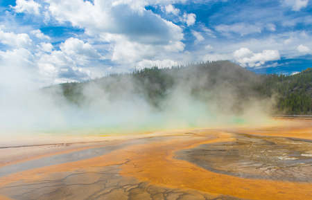 midway: Deatiled photo of steaming Grand Prismatic Spring. Yellowstone National Park, Wyoming, USA