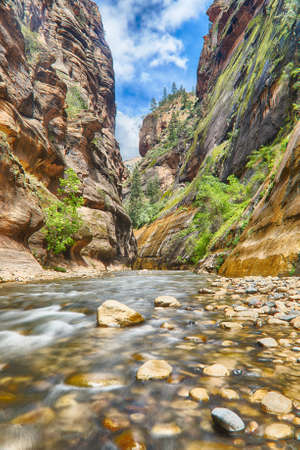 zion: The Narrows is the famous trek in the Zion National Park. Hiking takes place in the river Virgin in the narrow gorge. Utah, United States of America Stock Photo