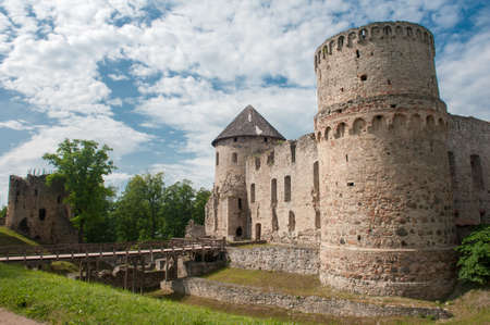exterior shape: Ruins of the beautiful castle in town of Cesis was a residence of the Livonian order (teutonic knights) in the middle ages, Latvia
