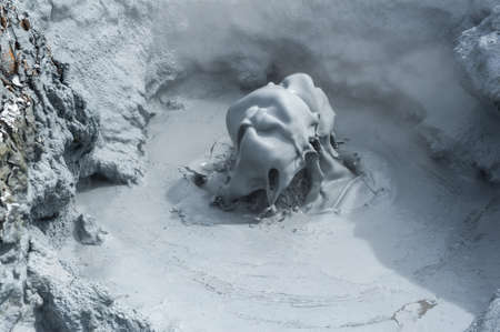 geothermal: Sculptures of boiling mud in Hverir geothermal area, Iceland Stock Photo