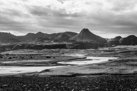 desert sand: Vast volcanic Moon like desert with volcanoes and rocks of lava hiden in the highlands of Iceland, Laki area.  Black and white. Stock Photo