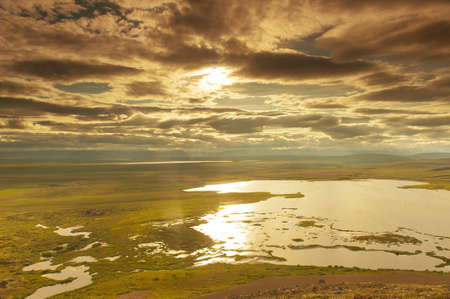 volcanism: View at lakes from the Vindbelgur volcano near the lake Myvatn - northern Iceland