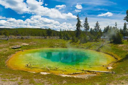 chromatic colour: Beautiful hot spring. Yellowstone National Park, Wyoming, USA