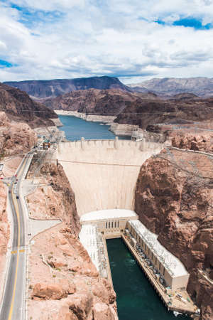 mike: Famous Hoover Dam seen from Mike OCallaghanPat Tillman Memorial Bridge. Nevada, USA