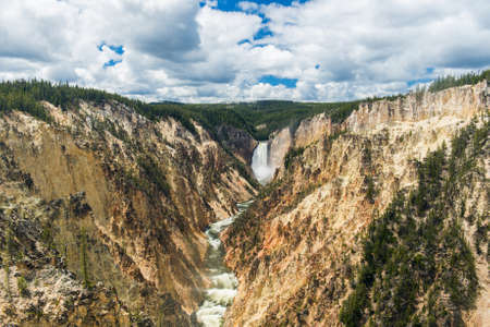 View at Lower Falls in Yellowstone Grand Canyon seen from Artist Point. Yellowstone National Park, Wyoming, USA