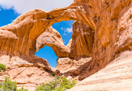 Day photo of a Double Arch. Arches National Park, Utah - USA Standard-Bild