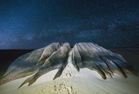 argent: Beautifully shaped granite boulder is washed by sea at Anse Source dArgent beach, La Digue island, Seychelles.Night time with stars