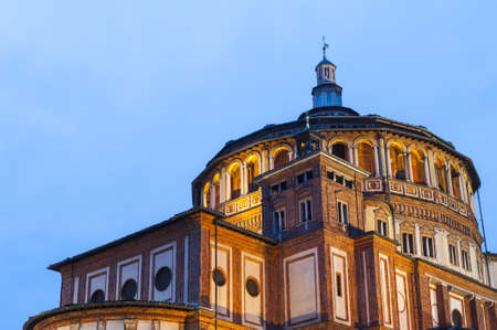 leonardo da vinci: Beautiful church Santa Maria delle Grazie is the place where can be found famous fresco of Leonardo da Vinci Last Supper. Milan, Italy