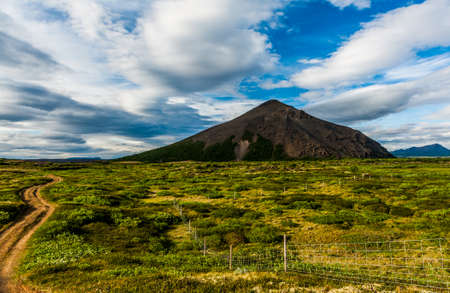 volcanism: Road leading to Vindbelgur, volcano near the lake Myvatn - northern Iceland