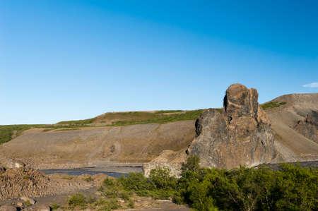 basalt: Beautiful rocks made of hexagonal basalt rosettes in Icelandic national park Jokulsargljufur, Hljodaklettar Area