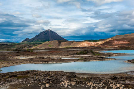 the stinking: Turquoise hot pools and a mighty volcano at Namafjall, Myvatn area - Iceland