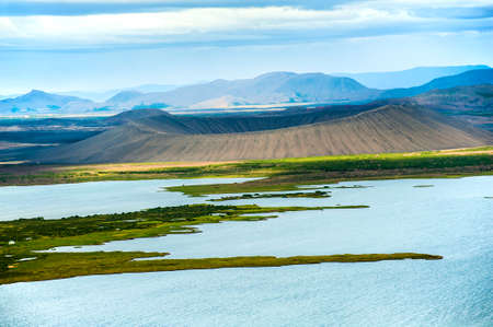volcanism: Dramatic volcanic crater Hverfjall near the lake Myvatn, Iceland Stock Photo