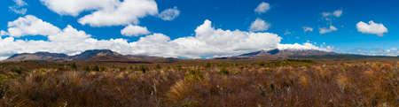 stratovolcano: Mt. Ngauruhoe and Mt. Ruapehu volcanoes, Tongariro Crossing National Park - New Zealand. Wide panoramic photo Stock Photo