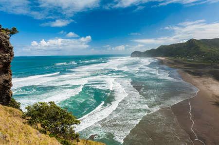 new zealand beach: Beautiful Piha beach near Auckland seen from the mighty Lion Rock, New Zealand Stock Photo